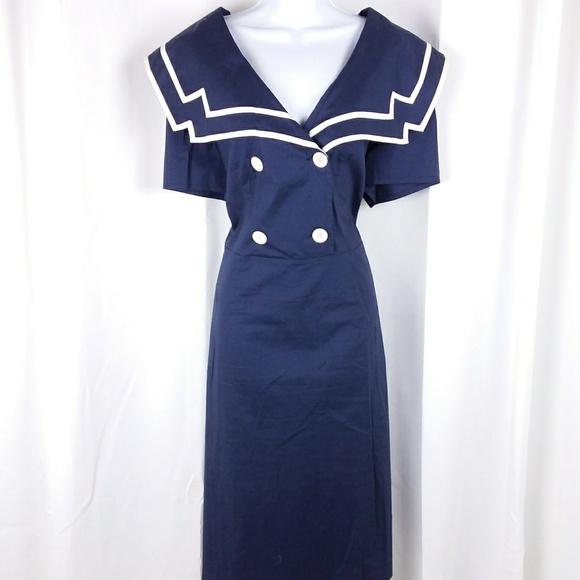 Dresses | Retro Pinup Sailor Dress Blue Plus Size | Poshmark